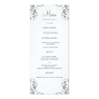 Hochzeits-Abendessen-Menü kardiert | graue 10,2 X 23,5 Cm Einladungskarte