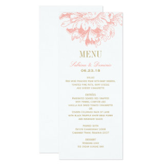 Hochzeits-Abendessen-Menü kardiert   korallenrote 10,2 X 23,5 Cm Einladungskarte