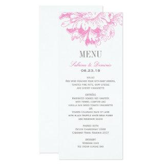 Hochzeits-Abendessen-Menü kardiert   pinkfarbene 10,2 X 23,5 Cm Einladungskarte