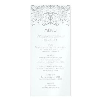 Hochzeits-Abendessen-Menü kardiert   silbernen 10,2 X 23,5 Cm Einladungskarte
