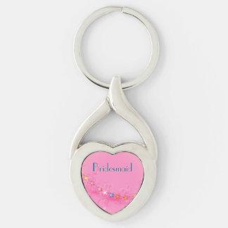 Hochzeits-Andenken-Herz Keychain Silberfarbener Herz Schlüsselanhänger