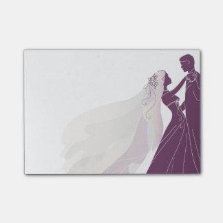 Hochzeits-Anmerkungen mit Braut u. Bräutigam 3 - Post-it Klebezettel