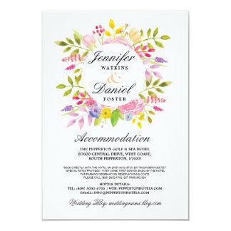 Hochzeits-Anpassung kardiert Einsatz-rosa Blumen 8,9 X 12,7 Cm Einladungskarte