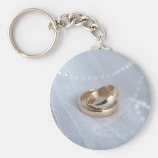 Hochzeits-Bänder auf Weiß Schlüsselanhänger
