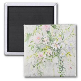 Hochzeits-Blumen für Louisa und Robert Quadratischer Magnet
