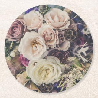 Hochzeits-Blumenstrauß Kartonuntersetzer Rund