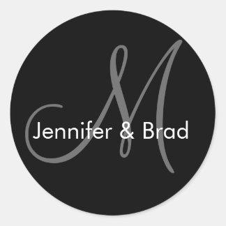 Hochzeits-Braut-Bräutigam nennt Monogramm-Aufklebe Runde Aufkleber