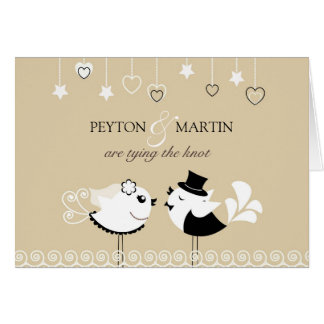 Hochzeits-Braut-u. Bräutigam-Vögel falteten Einlad Grußkarte