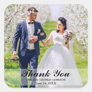 Hochzeits-Braut-und Bräutigam-Foto danken Ihnen Quadratischer Aufkleber