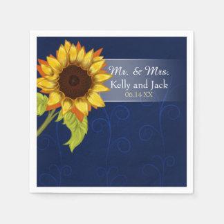 Hochzeits-Cocktailserviette der Sonnenblume blaue Servietten