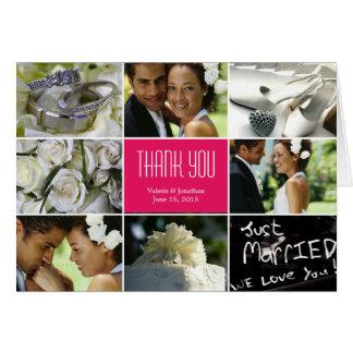 Hochzeits-Collage danken Ihnen, - Fuchsie zu Mitteilungskarte