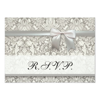Hochzeits-Damast UAWG Wartekarte 11,4 X 15,9 Cm Einladungskarte