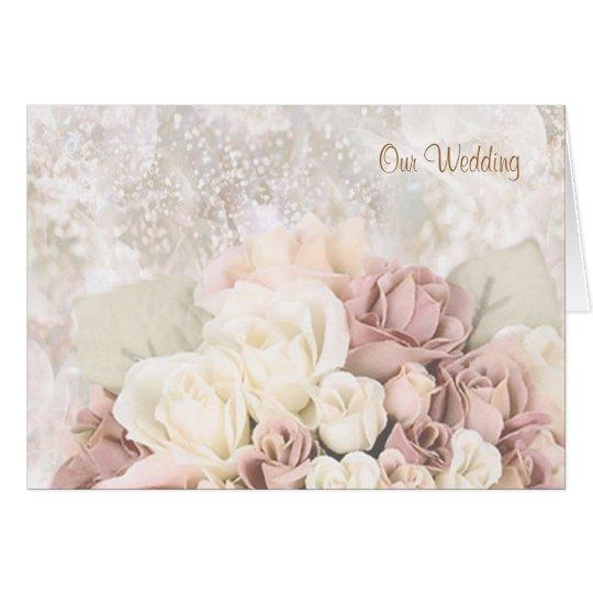 Hochzeits-Einladung - Creme-weiß-pinkish Rosen Karte