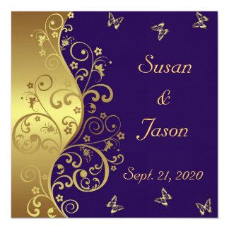 Hochzeits-Einladung--Dunkler Lila u. GoldWirbel Karte
