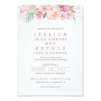 Hochzeits-Einladung   erröten und Blüte 12,7 X 17,8 Cm Einladungskarte