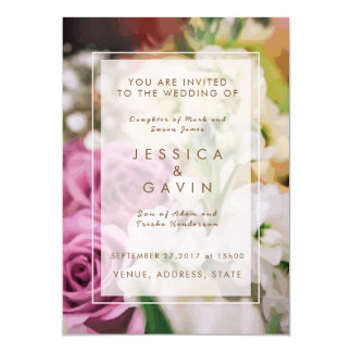 Hochzeits-Einladung mit Blumen 12,7 X 17,8 Cm Einladungskarte