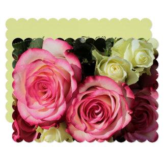 Hochzeits-Einladung mit Rosa-Gelben Rosen Karte