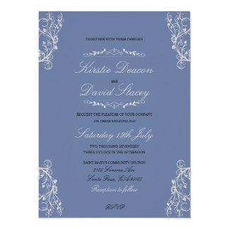 Hochzeits-Einladung mit verzierten Dekorationen 14 X 19,5 Cm Einladungskarte