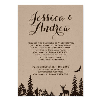 Hochzeits-Einladung Waldbrowns Kraftpapier 12,7 X 17,8 Cm Einladungskarte