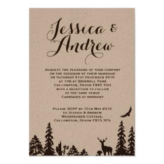 Hochzeits-Einladung Waldbrowns Kraftpapier Karte