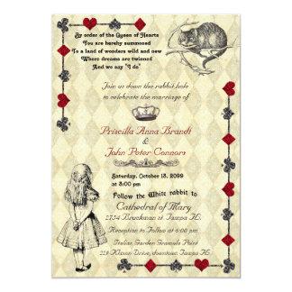 """Hochzeits-Einladungs-""""Alice im Wunderland"""" 12x18 Karte"""