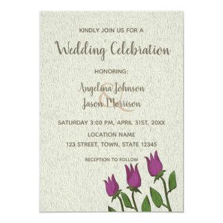Hochzeits-Einladungs-lila rustikales mit Karte