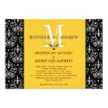 Hochzeits-Einladungs-Monogramm-Leuchter-Gelb 12,7 X 17,8 Cm Einladungskarte