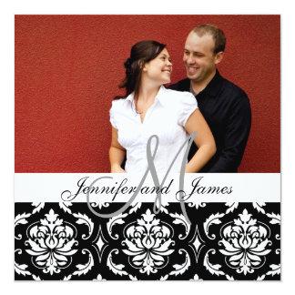Hochzeits-Einladungs-Monogramm nennt Foto-Damast Quadratische 13,3 Cm Einladungskarte