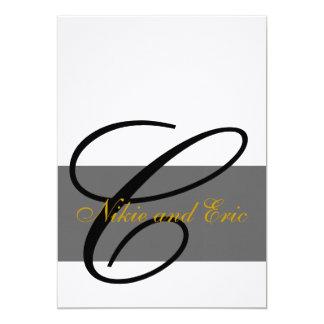 Hochzeits-Einladungs-Monogramm nennt Gold 12,7 X 17,8 Cm Einladungskarte