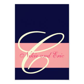 Hochzeits-Einladungs-Monogramm nennt rosa, 12,7 X 17,8 Cm Einladungskarte