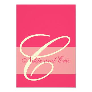 Hochzeits-Einladungs-Monogramm nennt Rosa u. 12,7 X 17,8 Cm Einladungskarte