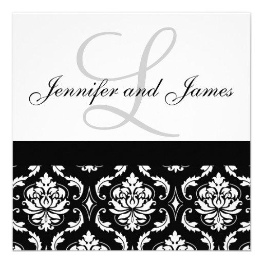Hochzeits-Einladungs-Monogramm nennt schwarzen Personalisierte Ankündigungskarten