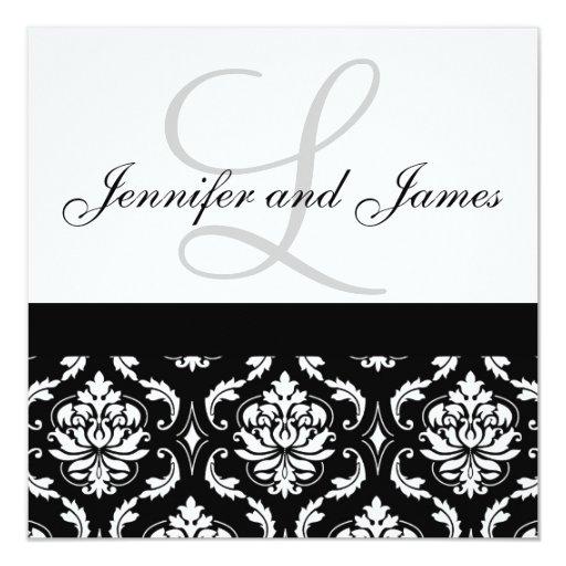 Hochzeits-Einladungs-Monogramm nennt schwarzen Quadratische 13,3 Cm Einladungskarte