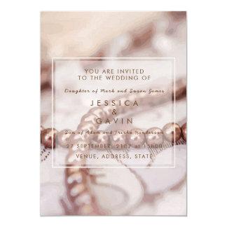 Hochzeits-Einladungs-Perlen 12,7 X 17,8 Cm Einladungskarte
