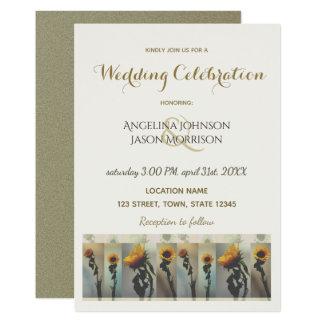 Hochzeits-Einladungs-Sonnenblume-goldene elegante Karte