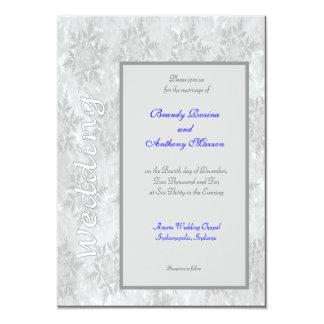Hochzeits-Einladungswinter-Schneeflocken Impressum Personalisierte Ankündigungskarte