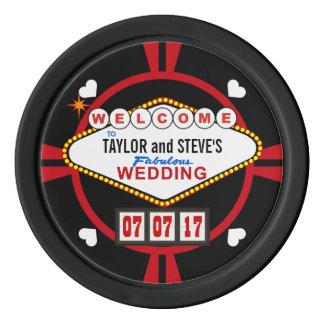 Hochzeits-Empfangs-Getränk-Zeichenvegas-Kasino-Art Poker Chip Set
