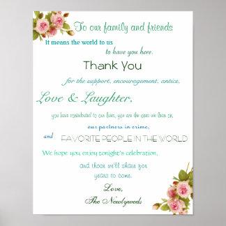 Hochzeits-Empfangs-Plakat, danke zu unterzeichnen Poster