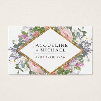 Hochzeits-Empfangs-Rosen-Goldland-Blumenkunst Visitenkarte