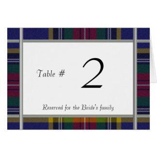 Hochzeits-Empfangs-Tischnummer Macbeth karierte Mitteilungskarte