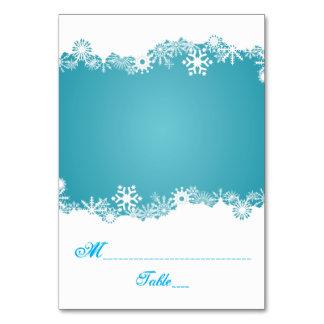 Hochzeits-Eskorte-Platzkarte des Schneeflockeaqua Karte