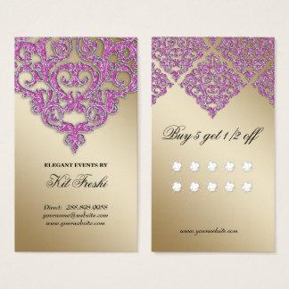 Hochzeits-Event-Planer-Damast-Goldschein-Loyalität Visitenkarte