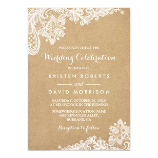 Hochzeits-Feier-noble Blumenspitze Kraftpapier 12,7 X 17,8 Cm Einladungskarte