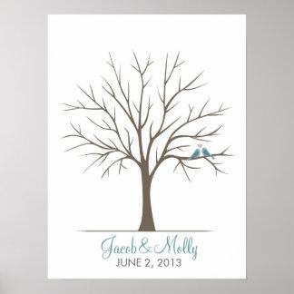 Hochzeits-Fingerabdruck-Baum - klassische Liebe-Vö Poster