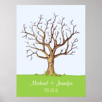 Hochzeits-Fingerabdruck-Baum-Plakat (Farbe) Poster