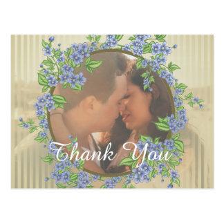 Hochzeits-Foto-Blumen-Rahmen danken Ihnen Postkarte