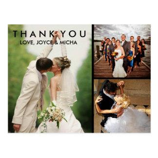 Hochzeits-Foto-Collage danken Ihnen Postkarte