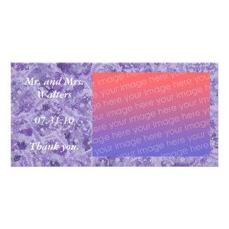 Hochzeits-Foto danken Ihnen die Karten, lila Photo Karte