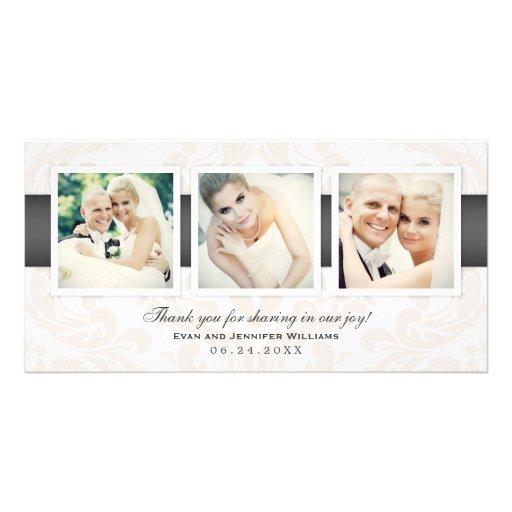 Hochzeits-Foto danken Ihnen kardiert   drei Fotos Photo Karten