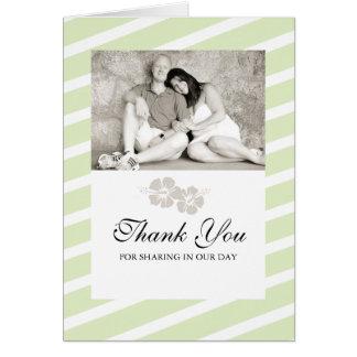 Hochzeits-Foto danken Ihnen, mit Hibiskus-Blumen Mitteilungskarte